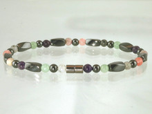Hematite Magnetic Anklet with the healing gemstones Amethyst, Aventurine, Moss Quartz, Rose Quartz and Tourmaline to help align energy flow for Fibromyalgia