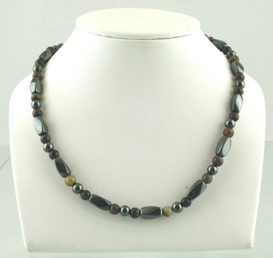 Magnetic necklace made with triple strength magnetic hematite combined with Turquoise Impression Jasper and Yellow Tiger Eye
