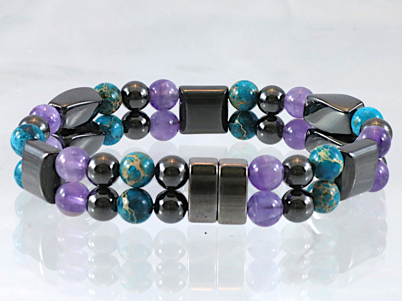 Hematite Magnetic Bracelet - Amethyst & Impression Jasper Double