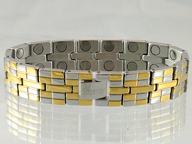 """Magnetic Bracelet Rio S stainless steel with 22/32"""" wide x 3/8"""" long link with 32 rare earth magnets in 8 5/8"""" length. It has a magnetic therapy pull strength of 1200 grams."""