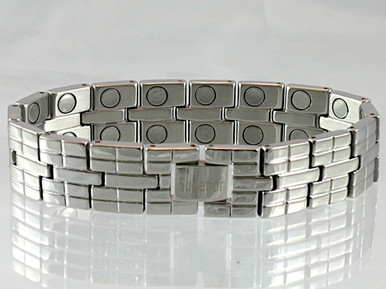 "Magnetic Bracelet Rio S stainless steel with 22/32"" wide x 3/8"" long link with 32 rare earth magnets in 8 5/8"" length. It has a magnetic therapy pull strength of 1200 grams."