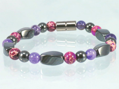 Magnetic Bracelet made with triple strength magnetic Hematite combined with Amethyst and Impression Jasper (Fuchsia)