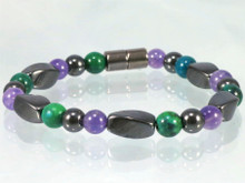 Magnetic Bracelet made with triple strength magnetic Hematite combined with Amethyst and Lapis Lazuli Phoenix