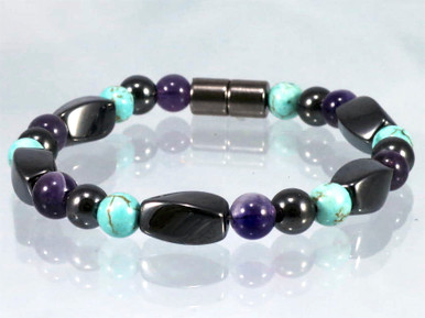Magnetic Bracelet made with triple strength magnetic Hematite combined with Amethyst & Turquoise