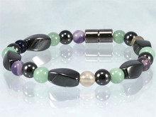 Magnetic Bracelet made with triple strength magnetic Hematite combined with Aventurine & Fluorite
