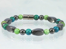 Magnetic Bracelet made with triple strength magnetic Hematite combined with Chrysoprase & Lapis Lazuli Phoenix