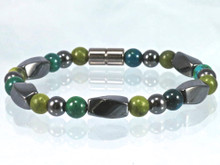 Magnetic Bracelet made with triple strength magnetic Hematite combined with Jade & Lapis Lazuli Phoenix