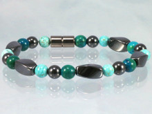 Magnetic Bracelet made with triple strength magnetic Hematite combined with Lapis Lazuli Phoenix and Turquoise