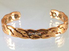 This copper bracelet with magnets is machine made to look like had woven copper from the old west.