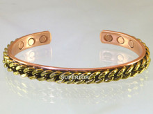 Magnetic Copper Bracelet for Men has heavy brass chain link wire. This is a very masculine copper bracelet favored by men.