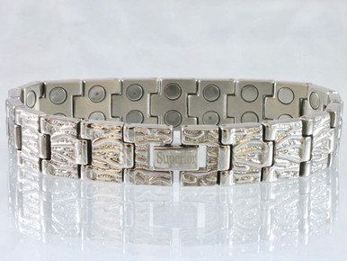 """This bracelet has a 9/16"""" wide x 3/8"""" long link with 38 rare earth magnets in 8 5/8"""" length. It has a magnetic therapy pull strength of 1300 grams."""