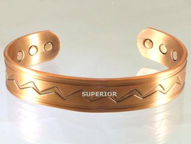 The Lightning Magnetic Copper Bracelet for Men has the native symbol for lightening.