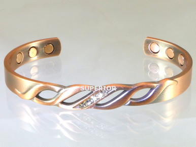 The Rhinestone copper magnet bracelet for women is our most feminine design