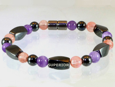 Magnetic Bracelet with triple strength magnetic Hematite, Amethyst & Rose Quartz