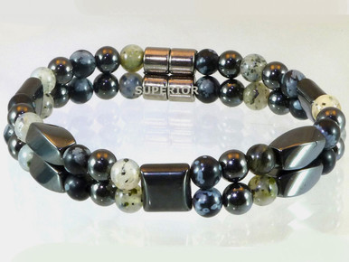 Magnetic bracelet made with a double row of triple strength magnetic Hematite combined with Moss Quartz and Snowflake Obsidian gemstones