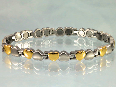 """Magnetic bracelet Open Hearts SG stainless steel with 22-5200 gauss magnets in an 8"""" length. It has a magnetic therapy pull strength of 675 grams."""