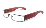 Calabria Designer Eyeglasses Bamboo 65 Gun-Metal & Brown :: Rx Single Vision