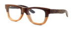 "Specs of Wood Designer Wooden Eyewear Made in the USA ""Peanut Butter"" in Oreo Light Dark Woods (Dark Light Brown)"