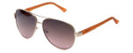 Guess  Designer Sunglasses GU7325 in Gold-Orange Frame with Amber Gradient Lens