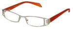 Cinzia Designer Eyeglasses Trendies Freeze C1 in Silver Orange 46mm :: Progressive