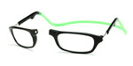Clic Compact Eyeglasses in Black Frame with Green Headband Custom