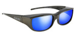 Jonathan Paul® Fitovers Eyewear Small Euroka in Gun-Metal & Blue Mirror EU002BM