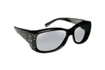 Haven Designer Fitover Sunglasses Dahlia in Black Crystals & Polarized Grey Lens (Small)