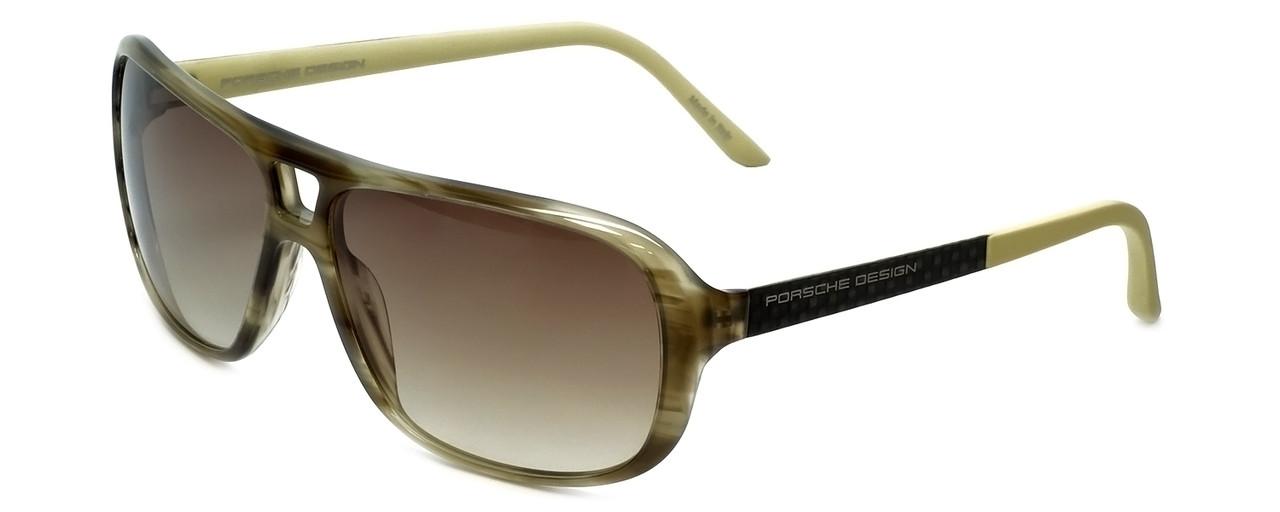 4ec24ce6fe15 Porsche Designer Sunglasses P8557-B in Olive-Striped with Brown ...