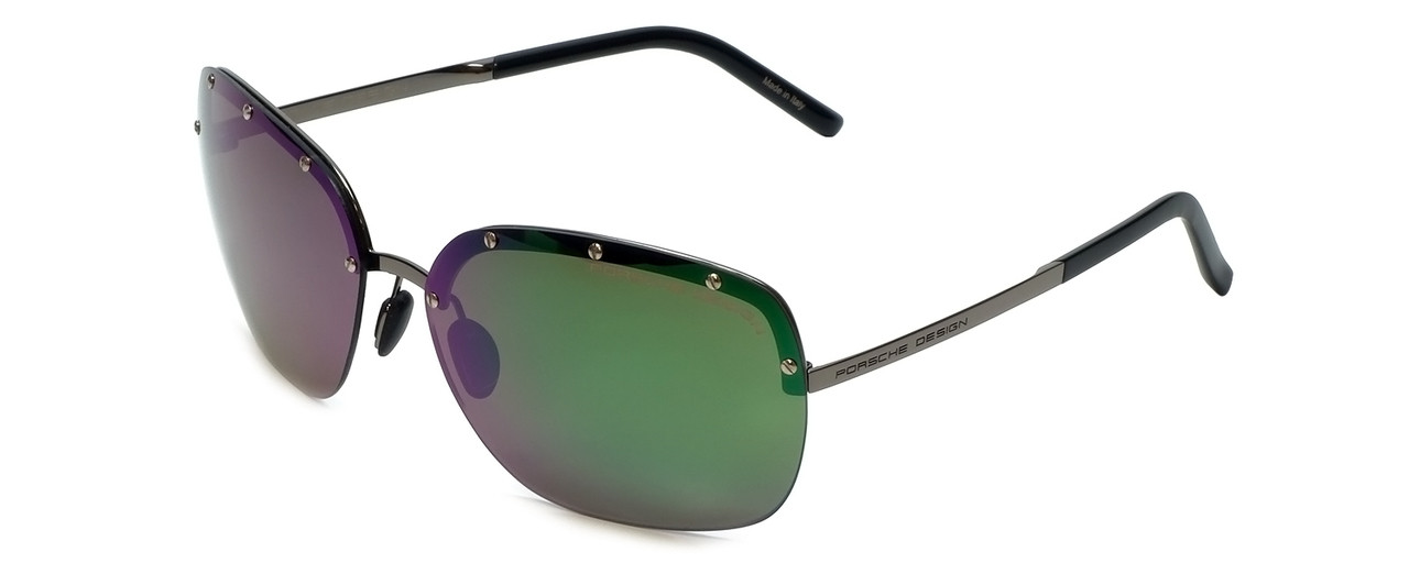 5a798dd6087a Porsche Designer Sunglasses P8576-A in Silver with Grey Green Mirror Lens.  Image 1. Loading zoom