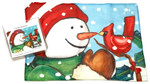 Holiday Christmas Theme Cleaning Cloth, Friends Snowman
