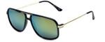 Isaac Mizrahi Designer Sunglasses IMM109-11 in Black Gold with Green Mirror Lens