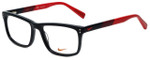 Nike Designer Eyeglasses 7238-015 in Black Team Red 52mm :: Rx Single Vision