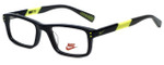 Nike Designer Eyeglasses 5537-001 in Black Volt 44mm Kids Size :: Rx Single Vision