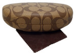 Coach Authentic Hard Clamshell Case in Brown Medium Size