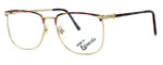 Fashion Optical Reading Glasses E2055 in Gold Demi Amber with Blue Light Filter + A/R Lenses