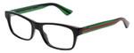 Gucci Prescription Eyeglasses GG0006O-002-53 mm Gloss Black/Green Clear Custom Left&Right Lens