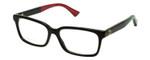 Gucci Prescription Eyeglasses GG0168O-007-55 mm Gloss Black/Green/Red Custom Left&Right Lens