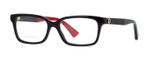Gucci Prescription Eyeglasses GG0168O-003-53 mm Gloss Black/Green/Red Rx Single Vision
