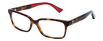 Gucci Designer Reading Eye Glasses in Gloss Havana/Blue/Red GG0168O-004-53 mm