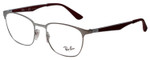 Ray Ban Designer Reading Glasses Shiny Silver/Matte Burgundy Red RB6356-2880-50