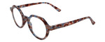 Calabria Elite Designer Unisex Wood Tone Hexagon Round Reading Glasses R207 46mm