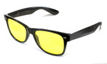 Calabria 1417 Night Driving Wayfarer in Gloss Black & Yellow Tint