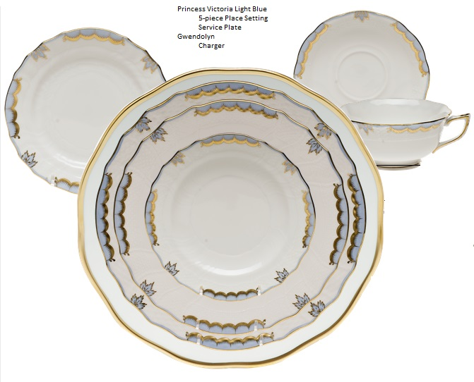 herend-princess-victoria-light-blue-5-piece-place-  sc 1 st  Nehas China \u0026 Crystal & Herend Princess Victoria Light Blue 5-piece Place Setting - Nehas ...