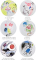 Bernardaud Marc Chagall Set of Six Coupe Dinner Plates 10.2 in S/6
