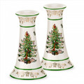Spode Christmas Tree Gold Candlesticks Set of Two 1557246