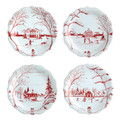 Juliska Country Estate Winter Frolic Ruby Party Plates Set of Four 8.5 in  CE63/73