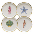Herend Aquatic Dessert Coasters Set of Four MEVHS-00341-0-SET