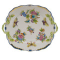 Herend Queen Victoria Blue Border Square Cake Plate with Handles 9.5 in VBO-Y300430-0-00