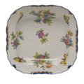 Herend Queen Victoria Blue Border Square Fruit Dish 11 in VBO-Y301181-0-00
