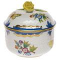 Herend Queen Victoria Blue Border Sugar Bowl with Rose 6 oz VBO-Y301463-0-09